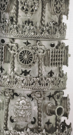 Detail of a very ornate Shabbat oil lamp, from the 18th Frankfurt Ghetto