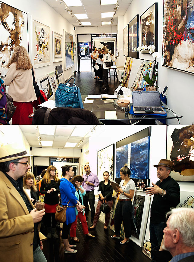 Partial views of the gallery, before the start of the evening and at one point when Igal Fedida spoke about his creations.