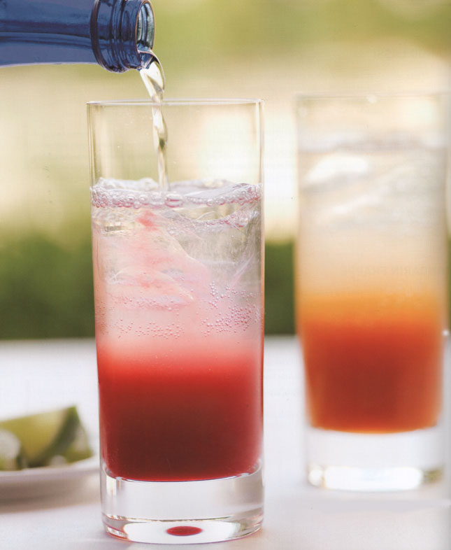 Left to Right: Rasberry-Lime Rickey and Mediterranean Coolers.  Photo by: Ben Fink on page 244