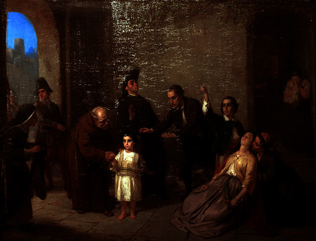Oppenhaim's the Kidnapping of Edgardo Mortara - painted in 1862, four years after the tragic event.