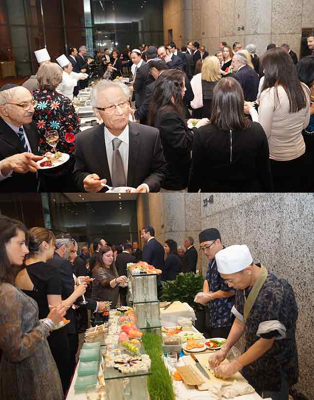 A partial view of the crowd and one of the serving tables.
